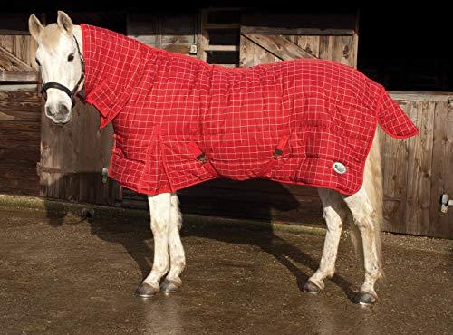 Rhinegold Dakota Quilted Stable Rug-Winter Weight 300gsm Fill Manta para Caballos, Cuadros Rojo/Blanco, 5'6