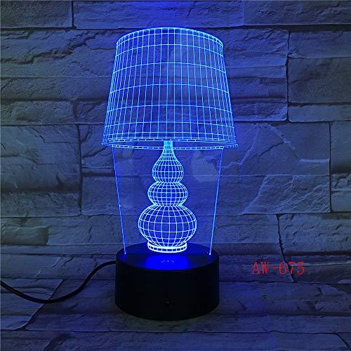 USB LED Nachtlicht Lotus 3D Urlaub Tischlampe Schalter Laterne Touch Dekoration 7 Regler