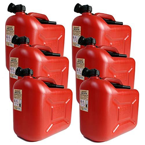 BAUPROFI 6er Set: 6X Benzinkanister KKR 20 PE 20 Liter rot (Reservekanister)