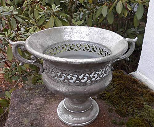 Deko-Impression Prunkvoller Übertopf Amphore Pflanztopf Vase Schale Eisen Antik-Silber