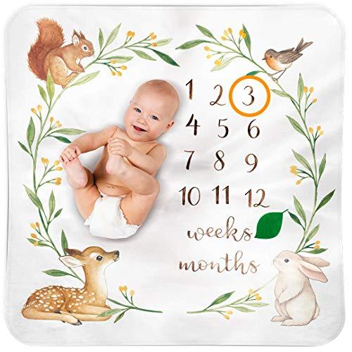 Baby Monthly Milestone Blanket Woodland - Baby Girl Gifts & Baby Boy Gifts - Watch Me Grow Woodland Nursery Décor - European Design - Gender Neutral Baby Shower Gifts for Newborn Girl & Boy