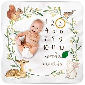 Baby Monthly Milestone Blanket Woodland – Baby Girl Gifts & Baby Boy Gifts – Watch Me Grow Woodland Nursery Décor – European Design – Gender Neutral for Newborn Girl & Boy