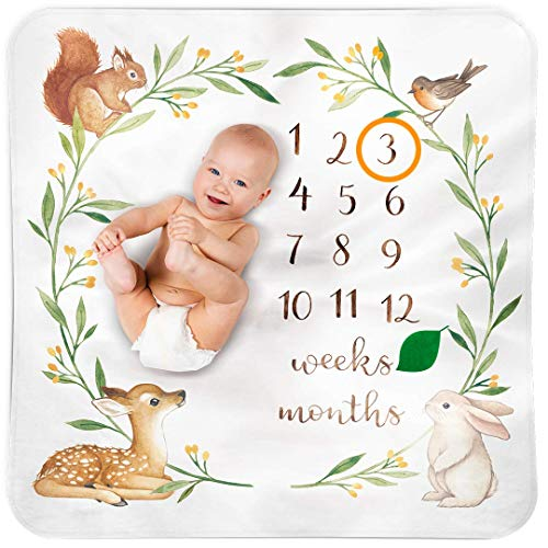 BUBZI CO Manta Bebé de Hitos Mensuales | Decoración manta fotografía bebé Bosque Colorido | 120 x 120 cm | Ideal regalos para mamas embarazadas y regalo baby shower | Neutro | Fondo fotográfico