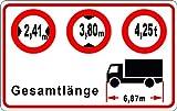 Personalisierter LKW Aufkleber Breite-Höhe-Gewicht | 95 x 60 mm