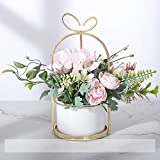 Flores artificiales en maceta, flores falsas flores de imitación flores de simulación de flores de plástico con maceta de cerámica para centros de mesa y decoración de sala de estar (estilo 5)