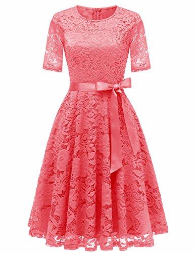 DRESSTELLS Damen Kleid Spitzen Hochzeitskleid Cocktailkleid Spitzen Brautjungferkleid Abendkleid Knielang Coral L