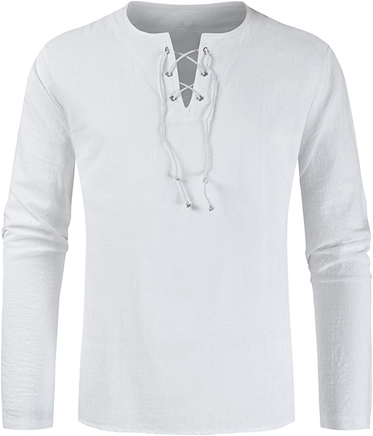 ZHDD Cotton Linen Casual Tops for Mens, Fall Henley V Neck Long Sleeve Loose Relaxed-fit Solid Color Tee Shirts
