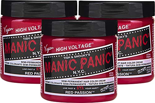 Manic Panic Red Passion Hair Dye – Classic High Voltage - (3PK) Semi Permanent Hair Color - Glows in Blacklight - Medium Strawberry Red Shade With Pink Tint - Vegan, PPD & Ammonia Free - For Coloring