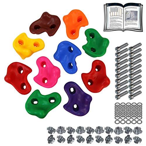 ALPIDEX Kinder Klettergriffe Klettersteine , belastbar bis 200 kg , inklusive Befestigungsmaterial, Verschiedene Stückzahlen bunt - 10 Stück