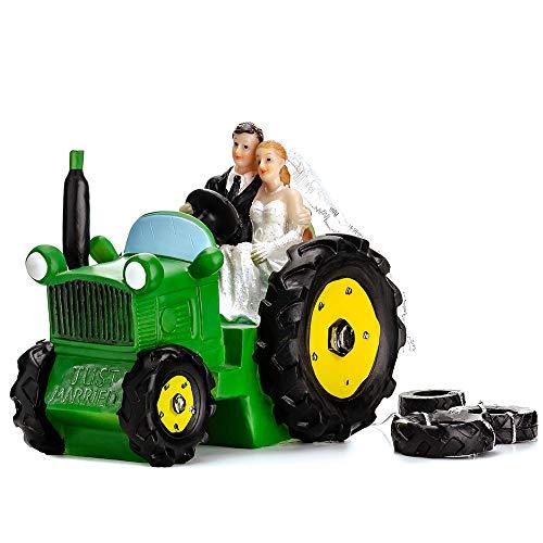DekoHaus Tortenfigur Brautpaar- auf dem Traktor 11 cm Tortenaufsatz Tortendeko Hochzeit PF34