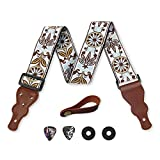 Guitar Strap Vintage Woven W/FREE BONUS- 2 Picks + Strap Locks + Strap Button. For Bass, Electric & Acoustic Guitars Stocking Stuffer. an Awesome Christmas Gift for Men & Women Guitarists