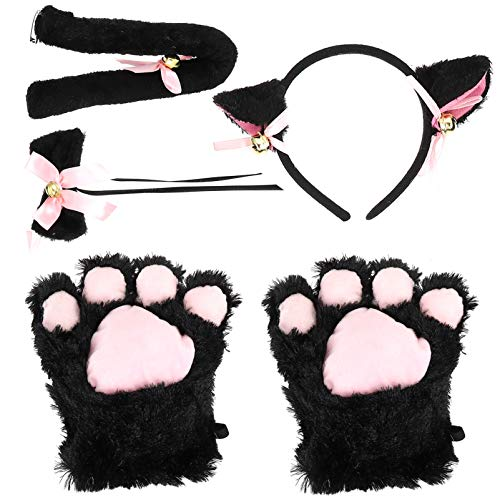 FOMIYES 1 juego de disfraz de gato, orejas de gato, diadema, cola de pata, pajarita, cola de gatito, orejas, collar de patas, guantes para dama niña (negro)