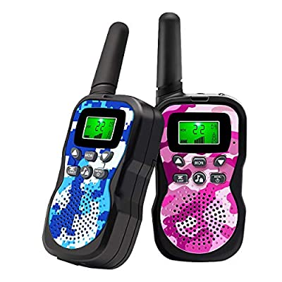 Walkie Talkies For Kids , Range Up to 3 Miles With Backlit LCD Display And Flashlight Walkie Talkies For Boys Girls Outdoor Toys For 3-12 Year Old Boys Girls Bset Gifts For 3-12 Year Old Boys Girls