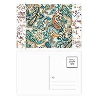 クラシックブルー/オレンジ抽象的な魚のパターン 公式ポストカードセットサンクスカード郵送側20個