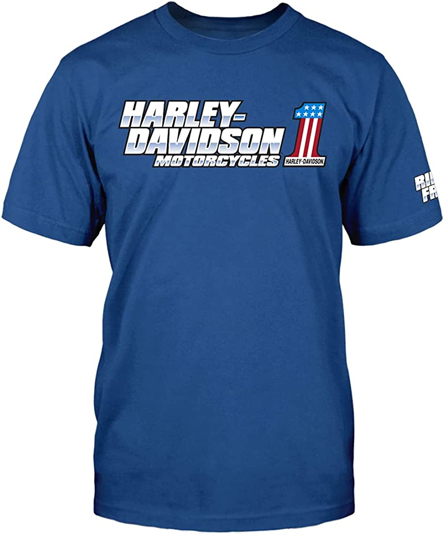 Harley-Davidson NEW before selling ☆ Military - famous Men's Royal Polyblend Graphic T- Blue