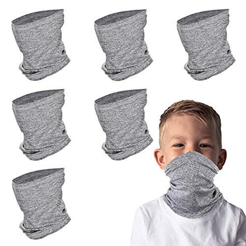 Kids Face Scarf Mask, 6-14 Years Kids Cooling Neck Gaiter Scarf, Breathable Bandana Face Mask for Boys Girls,6 PACK,Washable(Gray)