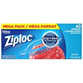 Ziploc Freezer Bags, Mega Pack, Large, 60 Count