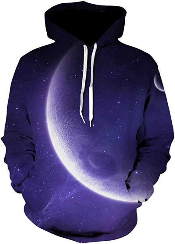 Unisex Realistic 3D Print AcisuHu Purple Moon Night Pattern Pullover Hoodie Hooded Sweatshirt For Student Girls