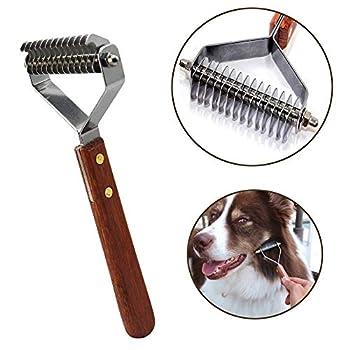 AIDIYA Peigne et brosse de toilettage pour chiens et chats Râteau à sous-poil – 14 Lame