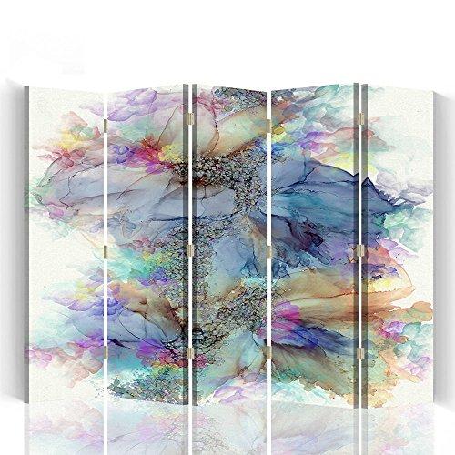 Raumteiler Trennwände Foto Paravent Spanische Wand Bedruckt aufLeinwand Trennwand Deko Design Paravent beidseitig 5 teilig 180x180 cm Bloomnjazz Farbe Abstrakt Dunkelblau Braun Weiß