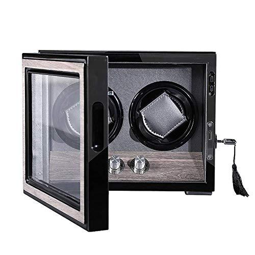 GLXLSBZ 2 enrollador de Reloj automático Unisex, Caja de exhibición de Almacenamiento de Relojes Dobles 4 Modos de rotación con Caja de Reloj de lámpara LED incorporada con Motor silencioso Mabuchi