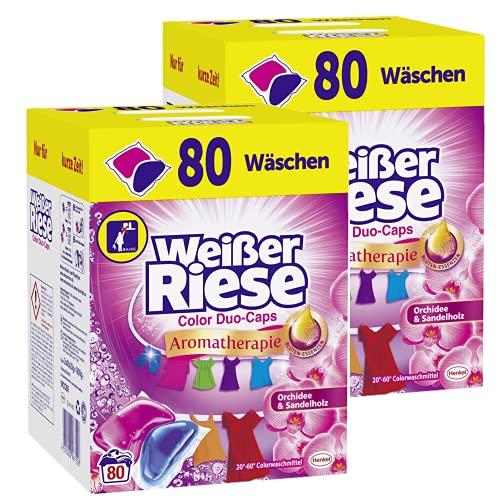 Weißer Riese Color Duo-Caps 160 (2x 80 Waschladungen), Aromatherapie Orchidee & Sandelholz, ergiebige Waschmittel Caps für Familien, Colorwaschmittel extra stark gegen Flecken