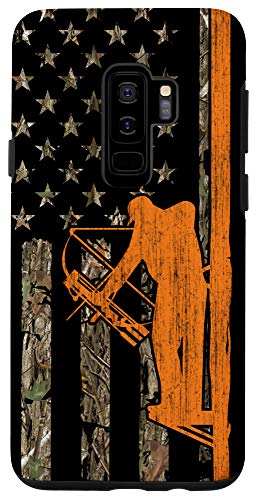 Galaxy S9+ Bow Hunting Tree Stand Deer Hunter American Flag Camouflage Case