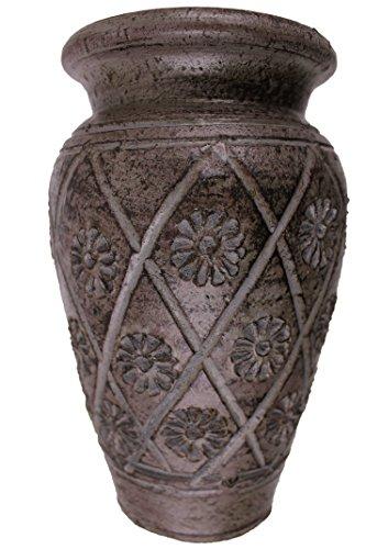 Rotfuchs Tonvase Bodenvase Blumenvase aus Ton 20 cm hoch Handarbeit Dekoration Zubehör (20 cm, rotbraun)