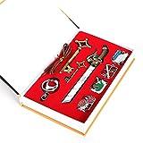 7 Pieces Attack on Titan Shingeki No Kyojin Badge Blade Swords Necklace Pendant Set