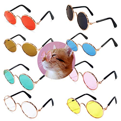 8 Pcs Cute Small Cats Dogs Sunglasses Retro Round Metal Prince Sunglasses Set Funny Cosplay Glasses...
