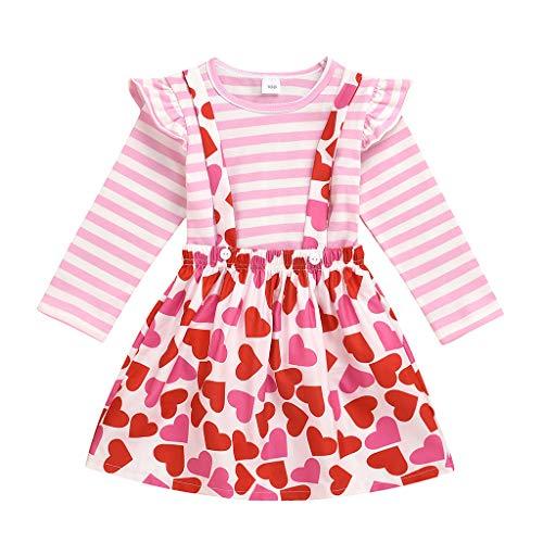 Kleinkind Kinder Mädchen Valentinstag Gestreifte Tops Herz Hosenträger Rock Outfits