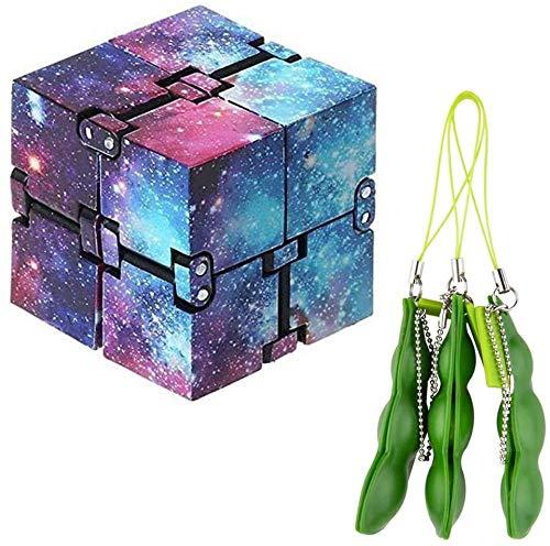 N/T 1 X Infinity Cube Fidget Puzzle Flip Cube Ball + 3 X Stress Relief Bean Toys, 3D Puzzle Cube Hand Handgelenk Twister Spielzeug für Stress Relief Fidget Anti Angst Stress, ADHS-Autismus