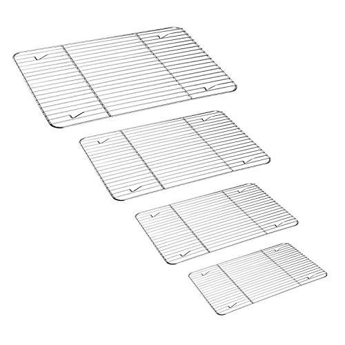 Grill Rack Set of 4, TeamFar Stainless Steel Wire Rack for Roasting, Baking, Grilling, Cooling, Rust Free & Oven Safe, Various Size & Multi-Purpose, Dishwasher Safe