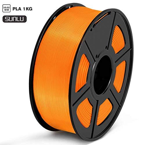 SUNLU Filament 1.75mm PLA 3D Drucker Filament PLA 1kg Spool (2.2lbs), Toleranz beim Durchmesser liegt bei +/- 0,02mm PLA Orange