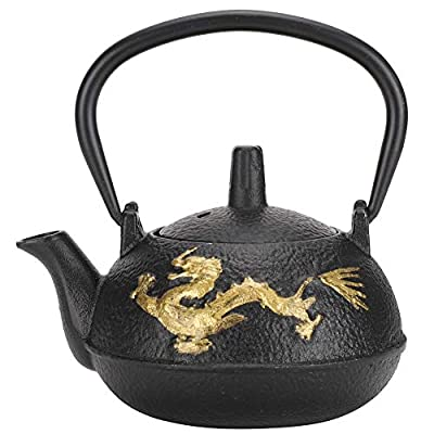0.3L Cast Iron Tea Kettle, Gold Dragon Pattern Japanese Teapot with Infuser for Loose Leaf Tea