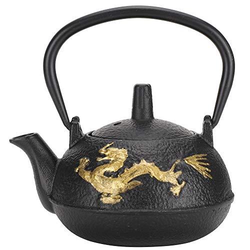 Tetera de hierro fundido, 300 ml Patrón de dragón dorado Sin revestimiento Tetera con colador para hervir Té de hojas sueltas Adornos de regalo para la oficina en el hogar