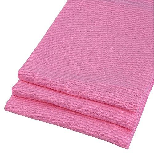 MACOSA Lot de 3 torchons à vaisselle 100% coton aspect lin dans Uni Rose. 67 x 50 cm Belle Design Serviettes de cuisine. Lavable avec ourlet passe au sèche-linge et résistant. 4 faces. Chiffon Sec