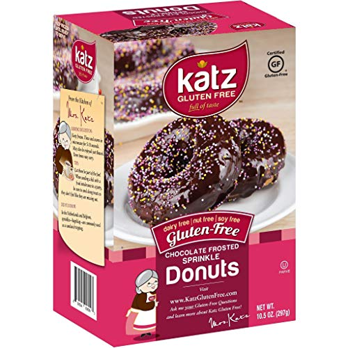 Katz Gluten Free Chocolate Frosted Sprinkle Donuts | Dairy Free, Nut Free, Soy Free, Gluten Free | Kosher (1 Pack of 6 Donuts, 10.5 Ounce)