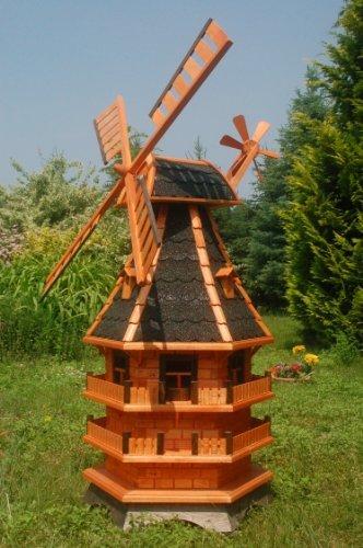 Deko-Shop-Hannusch Moulin à vent décoratif en bois enduit avec roulement à billes et éclairage solaire Modèle XXL 1,5 m dunkel