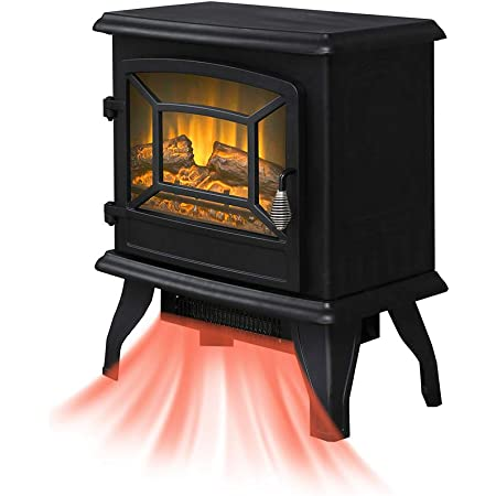 17 1400w Free Standing Electric Fireplace Flame Stove Portable Space Heater Firebox Hermostat Control Office Home Residential Apartment Use Steel Better Wood Overheat Protect 17 Inch Furniture Decor