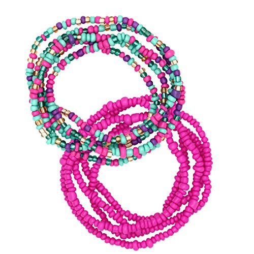 African Waist Beads for Women, Colorful Belly Beads, Bikini Waist Chain, Elastic...