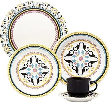 1 Aparelho de Jantar e Chá 20 Peças Oxford Daily Floreal Luiza Multicor