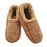 Snoozies Mens Two Tone Fleece Lined Non-Skid Slipper Socks - Camel, Medium