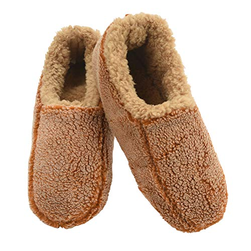 Snoozies Mens Two Tone Fleece Lined Slippers | Comfortable Slippers for Men | Fuzzy Mens Slipper Socks | Soft Sole Mens House Slippers | Camel | Large