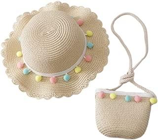 Toyvian Girls Straw Hat and Purse Sets Brim Plush Ball Pom Pom Beach Sun Hats Mini Cross-Body Bag Princess Hat Bag
