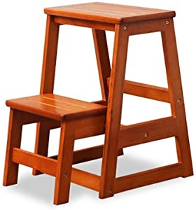 INMCJ Portable step stool  solid wood 2-step ladder  household foldable climbing pedal  moving staircase