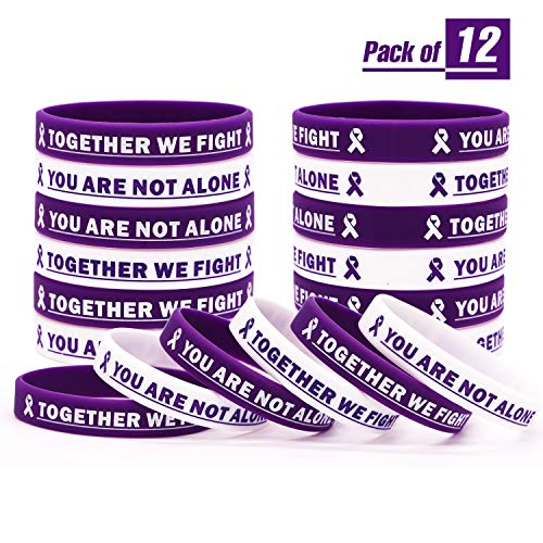 Purple Cancer Awareness Rubber Bracelet Ribbon Silicone Wristband with Saying Together We Fight, You are Not Alone. Gift for Patients, Family and Friends