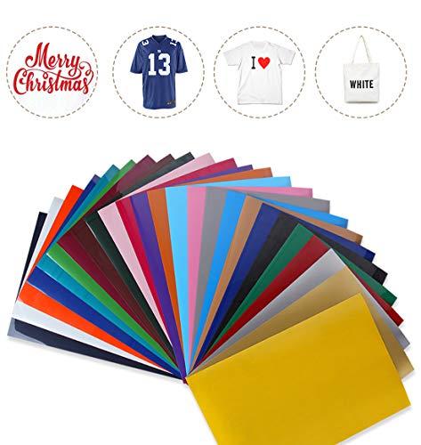 Genround Heat Transfer Vinyl, 25 Stück PU Wärmeübertragung Vinyl X 25 Farben Textilfolien Transferpapier für DIY T-Shirts, Stoffe, Kleidung Hitze Druck-Transfer von Bügelbildern (31x24cm)