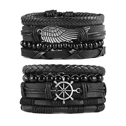 STWTR Mix 8 Wrap Bracelets Men Women, Hemp Cords Wood Beads Ethnic Tribal Bracelets, Leather Wristbands (Black)