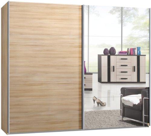 Armario de puertas correderas, armario, aprox. 270cm, haya y espejo
